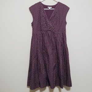 Garnet Hill Tie Front Voile Dress Polka Dot